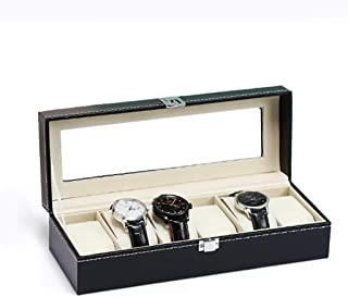 LCLZ Watch Box PU Leather Suede Black Jewelry Bead String Glass Cover Counter Window Display Box Jewelry Gift Storage Box Travel Portable Collection Box 6 Grid Men Women