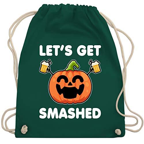 Shirtracer Halloween - Let's get smashed lachender Kürbis - weiß - Unisize - Dunkelgrün - Bier - WM110 - Turnbeutel und Stoffbeutel aus Baumwolle