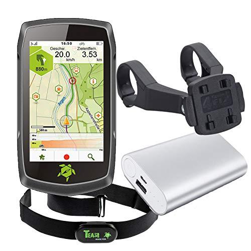 TEASI ONE4 - Fahrrad- & Wandernavigation + Fahrradhalter Lenkerbefestigung + USB Netzteil + Schutzfolie + optionales Zubehör (Teasi one4 + Dualhalter, Herzfrequenz-Sensor + Powerbank)