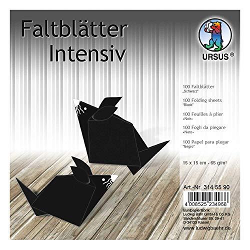 URSUS 3145590 Faltblätter Uni, 100 Blatt 65 g/qm 15 x 15 cm, für kleine und große Origami Künstler, durchgefärbt in Intensivfarben, schwarz