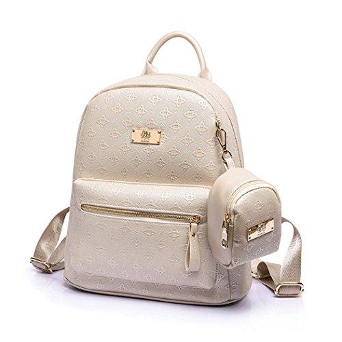 DOODOO レディースバッグ リュック ハンドバッグ ショルダーバッグ スクールバックパック ノートパソコン用のバッグ 2way PUレザーに オフホワイト