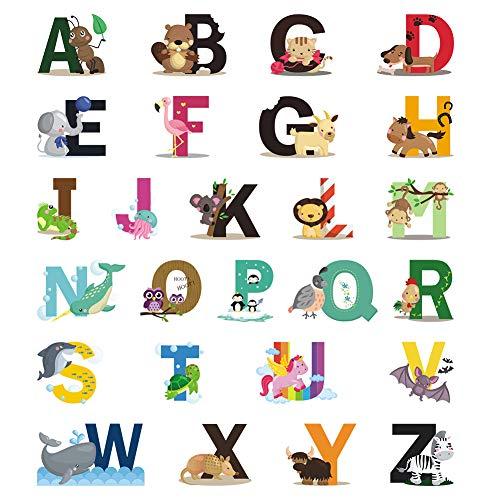 FRIUSATE Inglés Alfabeto Animal Vinilos de Pared Decorativos Pegatinas de Pared Animales para Habitación Dormitorio Salón Guardería Infantil Niños Bebés
