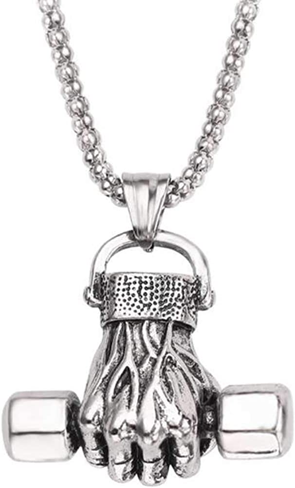 Retro Vintage Stainless Steel Fist Barbell Dumbell Gym Cocktail Party Biker Pendant Necklace