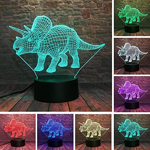 Anime Lights 3d Led, Triceratops Dinosaur 3D Illusion Lamp 7 Color Change Remote Touch LED Night Light Kids Lampara Baby Sleeping Decor, Fiesta de Navidad LED Night Lights
