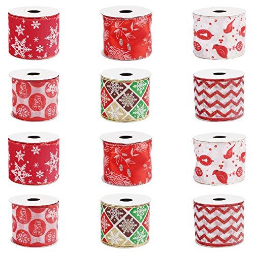 Belle Vous Cinta Organza Navidad (Pack de 12) 2,7 M x 63 mm de Ancho Cinta de Navidad Organza Blanca, Roja y Verde Diseños Variados - Decoración Árbol de Navidad Cinta Organza Envolver, Moños, Regalos
