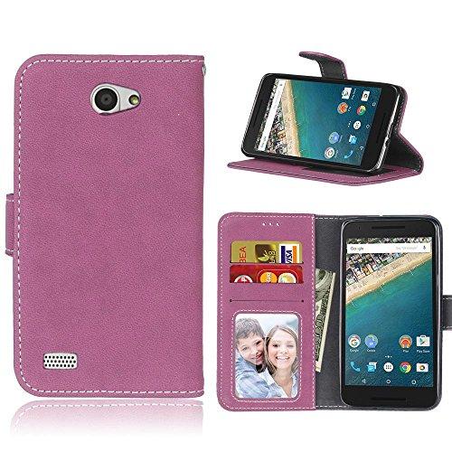 FUBAODA für LG Bello 2 Hülle, [Hautfreundlich][Wildleder][Gefrostet] Flip Leder Money Karte Slot Brieftasche, Klassiker, Ständer, Handyhülle Ledertasche Phone Tasche Hülle für LG Bello 2 (Rosen-Rot)