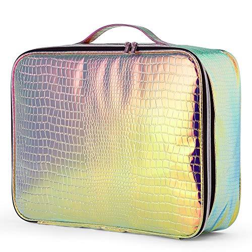 Beautify holografisches Make-Up-Case - Irisierender Kosmetik Organizer/Reiserucksack mit Reißverschluss/Kulturbeutel mit mehreren Fächern - Tragegriff und Rückengurt