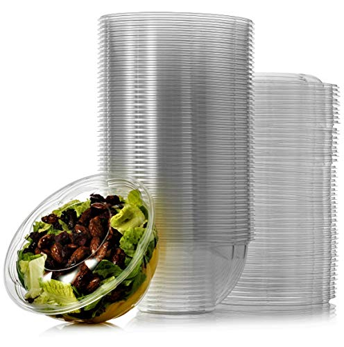 Green Direct 48 oz. Disposable Plastic Salad Bowls with lids, Pack of 50