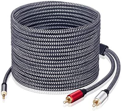 3 5mm to RCA Audio Cable Morelecs Nylon Braided 3 5mm to 2RCA Audio Auxiliary Stereo Y Splitter product image