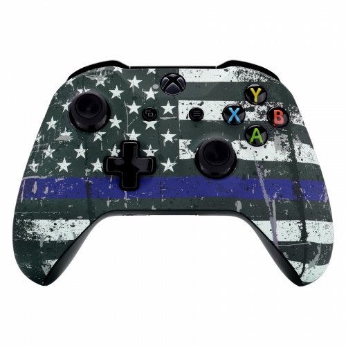 Custom Modded Rapid Fire Controller for Xbox One Compatible with All Shooter Games (Blue Line Flag)