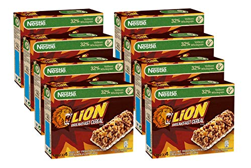 Nestlé Lion Cerealien Riegel, knuspriger Frühstücksriegel mit Karamell & Milchschokolade und 32% Vollkorn als leckerer Snack, 8er Pack (à 4 x 25g)