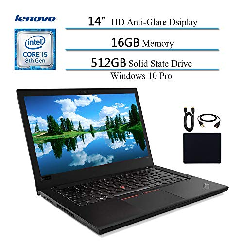 2019 Lenovo Premium ThinkPad T480 14' Flagship Business Laptop, Intel Quad-Core i5-8250U(i7-7500U), 16GB DDR4 RAM , 512GB SSD, Fingerprint Reader, Bluetooth, Windows 10 Pro w/ HESVAP Accessories