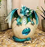 Ebros March Birthstone Dragon Egg Statue Aquamarine Blue Gem Birthday Dragon Hatchling Figurine Fantasy Collector