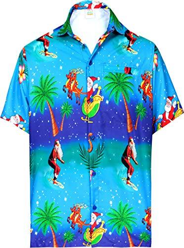 LA LEELA Funky Christmas Kostüme Thema Weihnachtsmann Geschenke Weihnachtsdruck Urlaubs Party Männer Vortasche entspannt Hawaiihemd Weihnachts Hemd Weihnachtsbaum Hemd Blau_W580 5XL