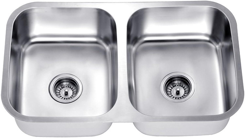 Daweier ES281616 Sink Equal Double Bowls, 18 Gauge