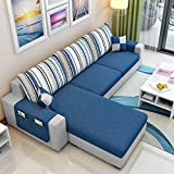 CasaStyle 4 Seater Adona LHS Fabric L Shape Sofa Set (Dark Blue- Light Grey)