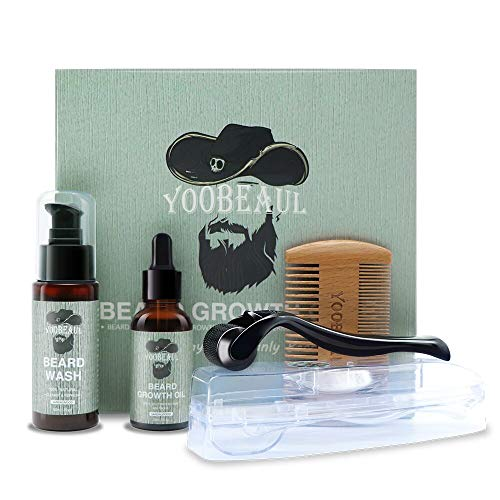 YOOBEAUL Beard Growth Care Kit Sandalwood Scent Beard Growth Oil ,Beard Derma Roller, Beard Wash and Beard Comb for Men Patchy Face Hair Growth, Promote Beard Growth and The Best Grooming Gift for Men