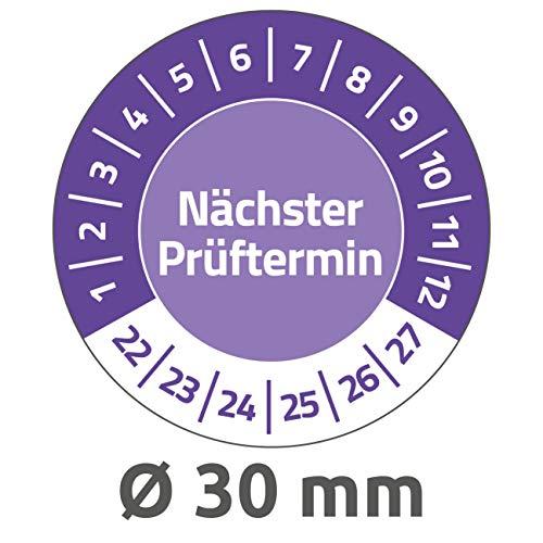 AVERY Zweckform 80 Stück Prüfplaketten Nächster Prüftermin 2022-2027 (widerstandsfähig, selbstklebend, Ø 30 mm, Prüfaufkleber, beschriftbare Prüfsiegel aus Vinyl-Klebefolie) 6988-2022 violett