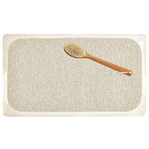 mDesign rutschfeste Badewanneneinlage – weiche, polsternde Duschmatte mit Saugnäpfen – Anti-Rutschmatte für Dusche und Badewanne – beige