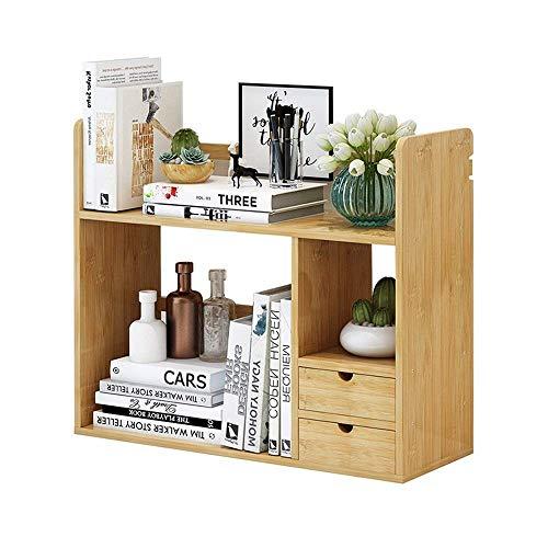 ZHANGYY Organizador de Escritorio de bambú con Soporte para estantería, Almacenamiento de exhibición para Oficina y hogar, estantería de Escritorio con cajones (tamaño: 68 cm)