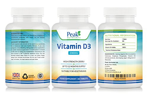 Vitamin D 2000IU, High Strength Vitamin D3 Supplement - 365 Tablets (1 Years Full Supply) - Suitable for Vegetarians - UK Manufactured