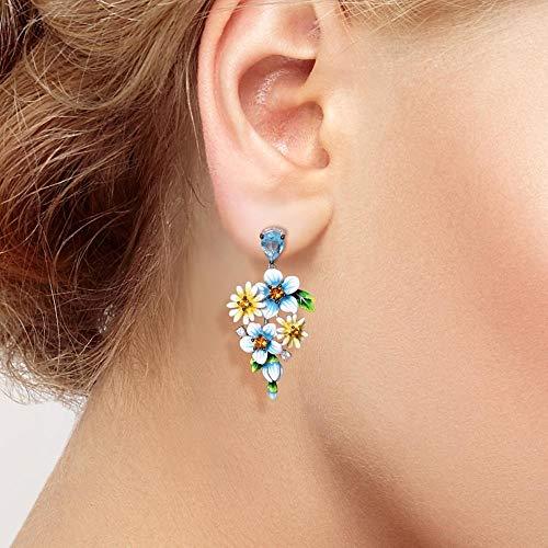 weichuang Juego de joyas para mujer de plata de ley 925 para mujer, elegante esmalte, amarillo, azul, flores, aretes, anillo y pulsera, joyería fina (tamaño del anillo: 9)