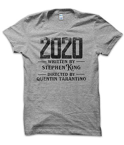 T-ShirtManiak Magliette 2020 Written By Stephen Directed By Quentin - T Shirt Divertenti King Tarantino Covid 19 Anno Year Corona Virus Movie Film Vintage Uomo Grigia (S)