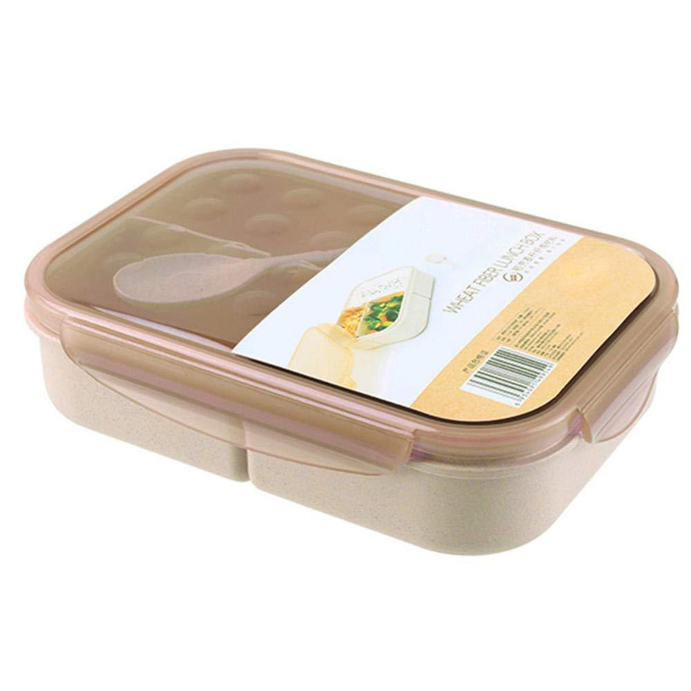 A+TTXH+Lunch box Desayuno Caja para Niños con Cuchara Contenedor Caja De Almuerzo para Los Niños Almacenamiento De Alimentos Escolares Paja De Trigo 3 Cuadrículas @ A: Amazon.es: Hogar