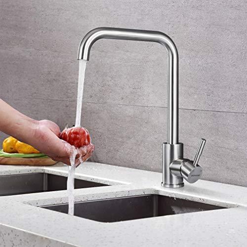 BONADE Wasserhahn Küche 360° Schwenkbare Küchenarmatur Edelstahl mit gebürstetem Nickel Armatur Einhebel Mischbatterie Spültischarmatur