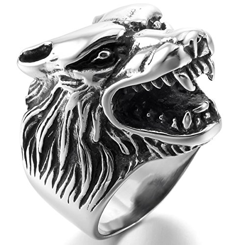 MunkiMix Acero Inoxidable Anillo Ring El Tono De Plata Negro Lobo Cabeza Talla Tamaño 17 Hombre