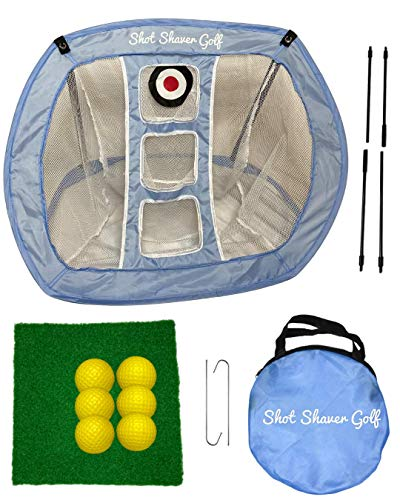 Golf Chipping Net with Turf Hitting Mat and Practice Balls by Shot Shaver Golf | Complete Backyard Golf Set | Indoor/Outdoor Game | Golf Swing Net