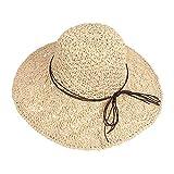 Sombrero de Paja para Mujer Plegable Bohemia Verano Mujeres Sombrero de la Playa del Borde Suave Transpirable Grande Ancho Cap para Viajes Vacaciones (Beige)