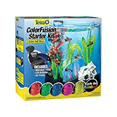 AQUARIUM KIT: Half-moon shape allows 180-degree panoramic viewing – starter kit has everything you need BUBBLE CURTAIN Bubbling disc automatically cycles through a rainbow of LED light colors INCLUDES FILTER: Includes air pump-driven Tetra Whisper In...