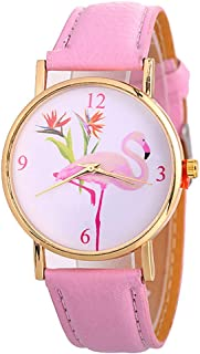 alignmentpai Women Wrist Watch, Fashion Flamingo Faux Leather Strap Arabic Numbers Quartz Watches Xmas Gift Pink