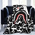 "LouisMButler Shark Teeth Ba-pe Blanket Flannel Fleece Siesta Sofa Throw Lightweight Cozy Couch Bed Plush Blanket (50"" X 40"")(60""X50"")(80""X60"")"