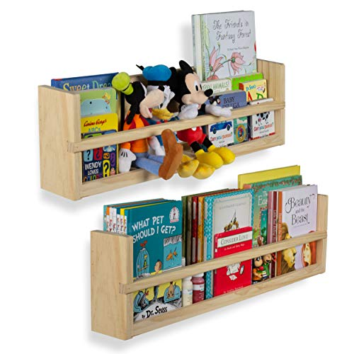 Nursery Décor Wall Shelves – 2 Shelf Set – Wood Floating Bookshelves for Baby & Kids Room, Book Organizer Storage Ledge, Display Holder for Toys, CDs, Spice Rack – Ships Assembled (No Finish)