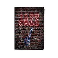 音楽 人気 ipad air4 2020ケース ipad 10.9インチ カバー 魅惑的なネオンのイメージレンガ壁の装飾的なサクソフォーン楽器とすべてのジャズ記号装飾 手帳型 ブック型 おしゃれ PUレザー 軽量 角度調節可 赤青