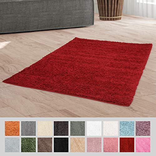 Taracarpet Hochflor Langflor Shaggy Teppich geeignet für Wohnzimmer Kinderzimmer und Schlafzimmer flauschig und pflegeleicht rot 060x090 cm
