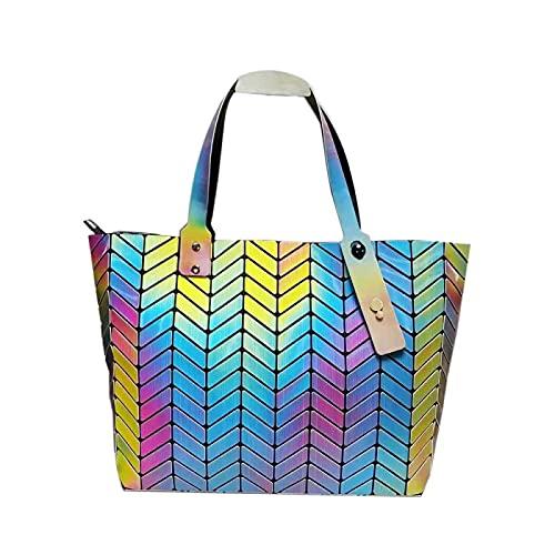 QIANJINGCQ Fashion Trend Lingge Rainbow Láser Bolso plegable Cubo de Rubik Costuras geométricas Gran capacidad Variedad de colores Bolso de hombro Mochila