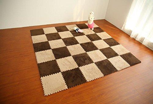 "Interlocking Foam EVA Mat Fleece Carpet Flooring by Homeneeds (9 Pieces, Chocolate & Sand Fleece Mat) Each Piece 12"" x 12"" Inches, Approximately ½ inch Thick"