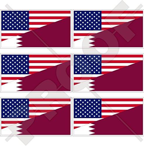 Lot de 6 mini autocollants en vinyle pour téléphone portable avec drapeau américain et Qatar 40 mm