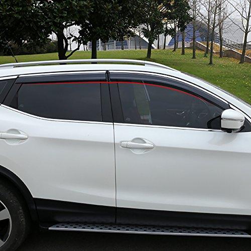 BeHave yd314w - Deflector de viento para coche, protector de lluvia para ventanas de coche, accesorios para ventanas de coche, pack de 4 unidades de ventanas de cromo
