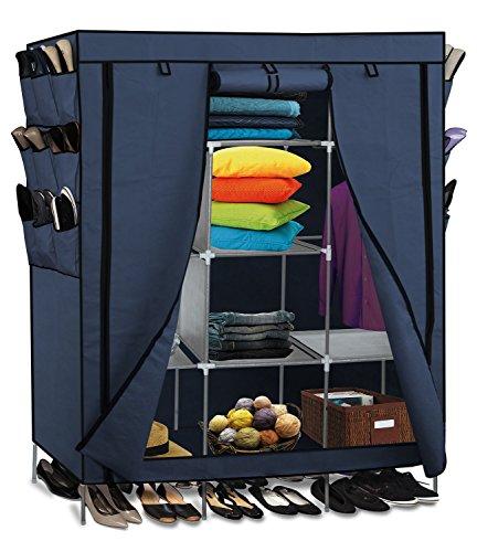 OxGord 69' Portable Closet Storage Organizer Clothes Wardrobe with Shoe Rack Shelves - Blue