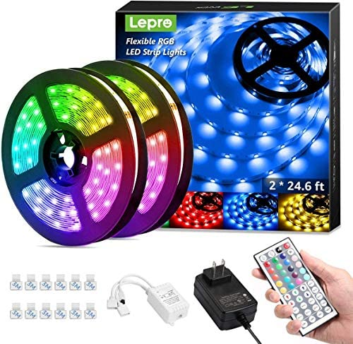 Lepro 50ft LED Strip Lights Ultra Long RGB 5050 LED Strips with Remote Controller and Fixing product image