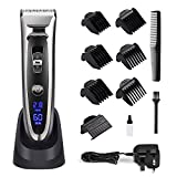 Hair Clipper Set Cordless, Electric Hair Trimmer Rechargeable Waterproof Mens Grooming Kit Hair Cutting Machine with LED Display Ceramic Blade Hair Shaver Beard Trimmer 2 in1 for Men Kids Barbers