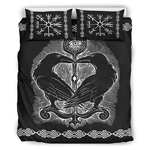 Bedding Set Viking Ravens in Norse All-Season&Soft Bed Set(1 Quilt Cover&2 Pillowcases) Machine Washable White 104x90 inch