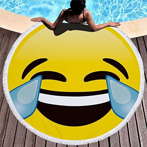 Runde Strandtuch Übergroße Dicke Decke,Microfaser-Qualität Mit Quasten,Fransen,Neuheit Lachen Tränen Emoji Drucken Tapisserie,Quick Dry Sand Proof Teppich Für Indoor Outdoor Yoga Camp Picknick