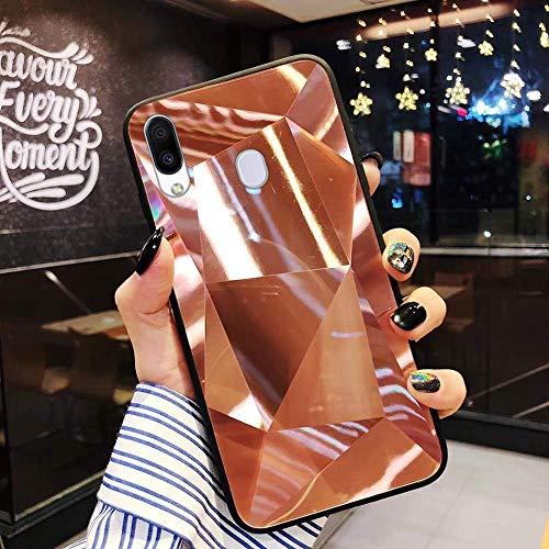 Uposao Kompatibel mit Samsung Galaxy M20 Hülle Spiegel Schutzhülle Bling Glänzend Glitzer Kristall Strass TPU Silikon Handyhülle Weiche Silikon Rückseite Glitzer Hülle Case Tasche,Rose Gold