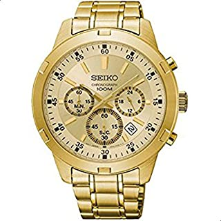 Seiko Men's Gold Dial Stainless Steel Band Watch - SKS610P1