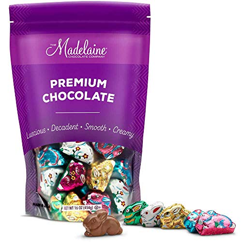 Madelaine Highly Detailed, Bite-sized, Solid Premium Milk Chocolate Easter Sitting Bunnies Wrapped In Colorful Italian Foils (1 LB) from The Madelaine Chocolate Company